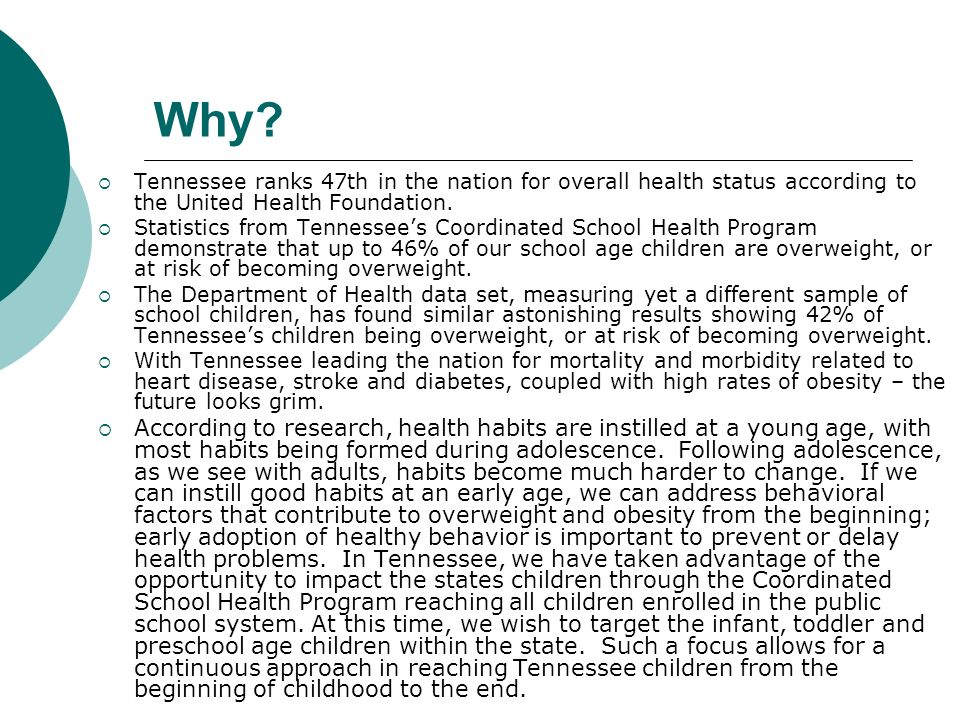 Vision To enhance policy related to physical activity and nutrition within licensed child care facilities across the state of Tennessee with the hopes