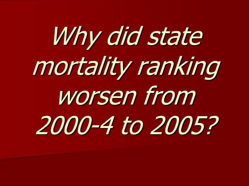 Why did state mortality ranking worsen from 2000-4 to 2005?