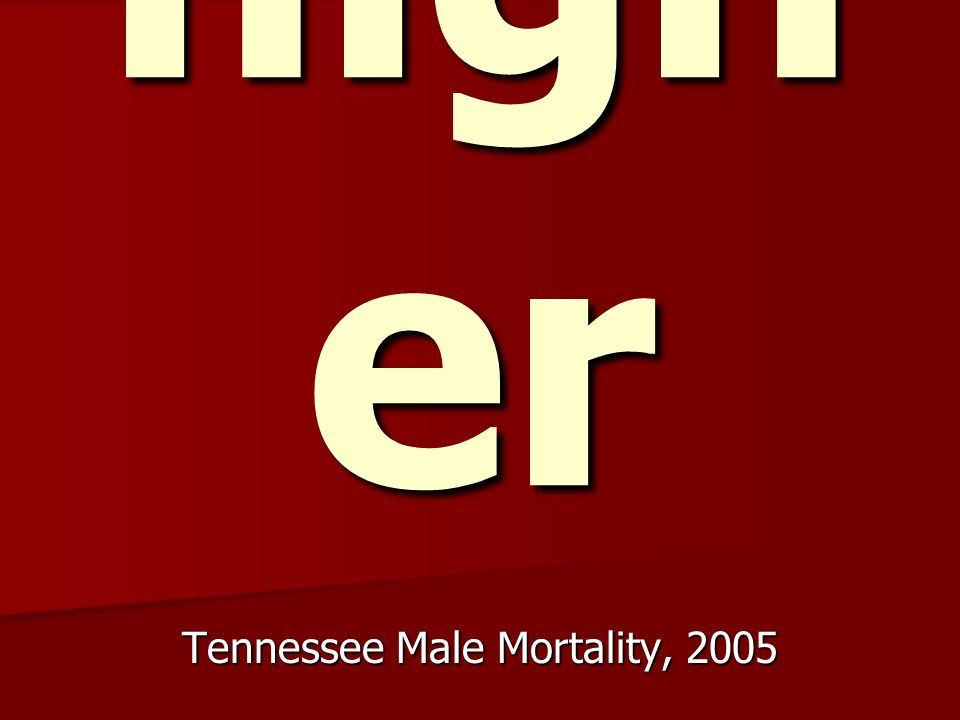 17.5 % high er Tennessee Male Mortality, 2005