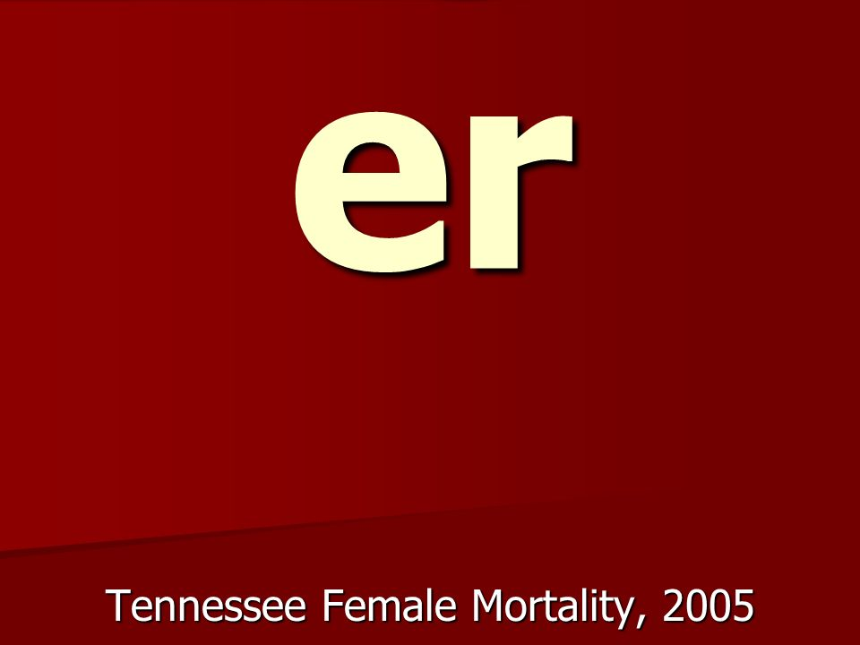 10.5 % high er Tennessee Female Mortality, 2005