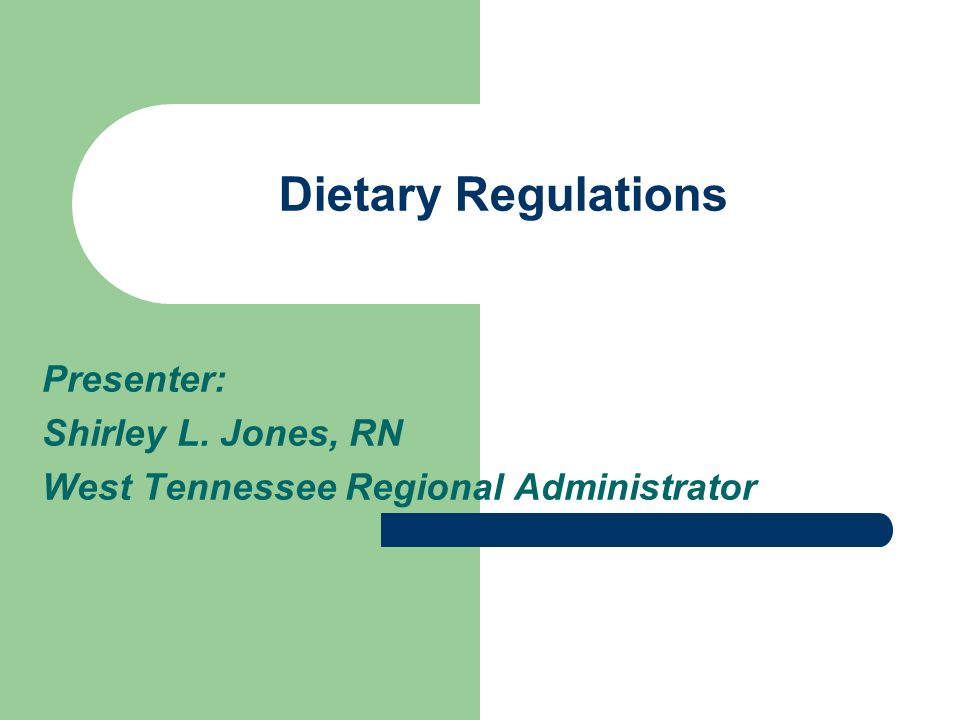 Dietary Regulations Presenter: Shirley L. Jones, RN West Tennessee Regional Administrator