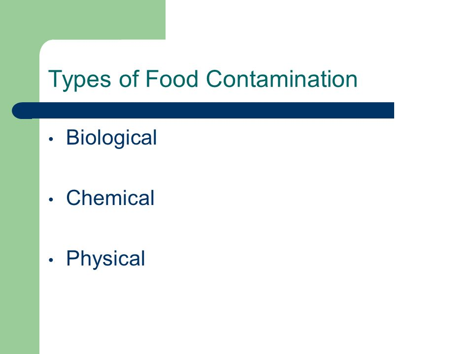Types of Food Contamination Biological Chemical Physical