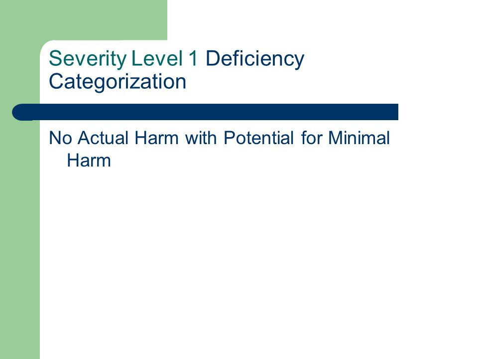 Severity Level 1 Deficiency Categorization No Actual Harm with Potential for Minimal Harm