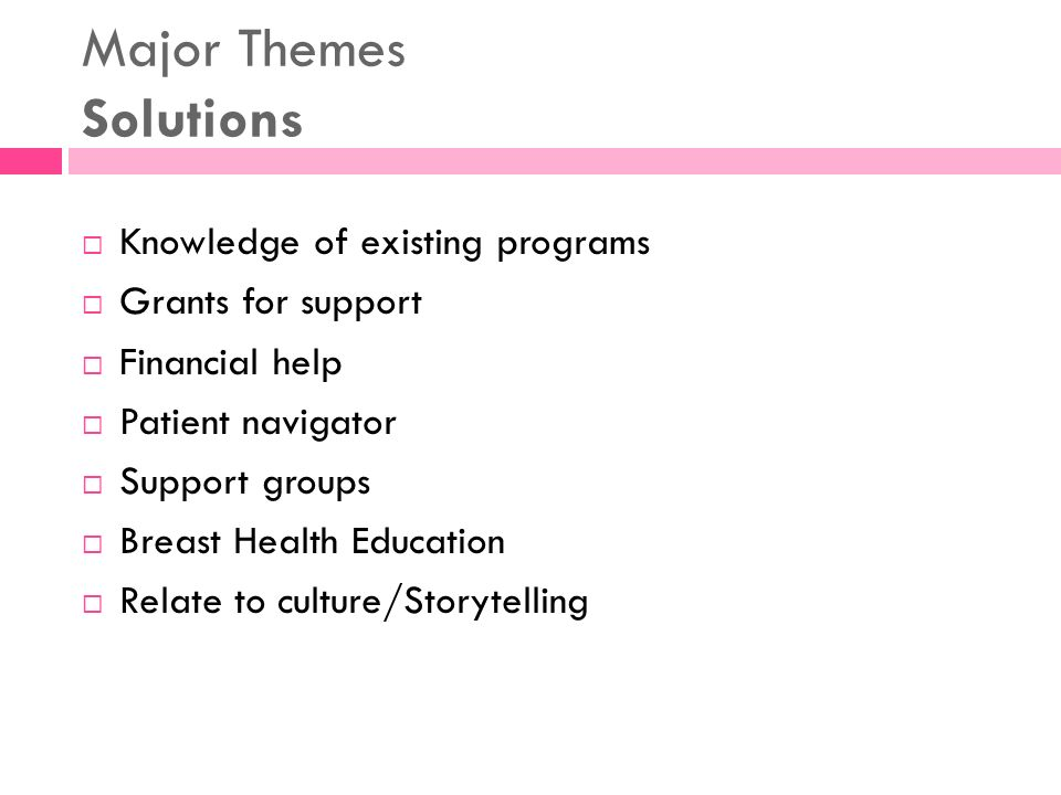 Major Themes Solutions Knowledge of existing programs Grants for support Financial help Patient navigator Support groups Breast Health Education Relat