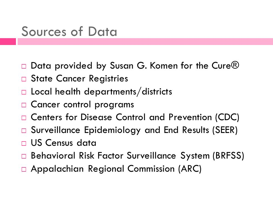 Sources of Data Data provided by Susan G. Komen for the Cure® State Cancer Registries Local health departments/districts Cancer control programs Cente