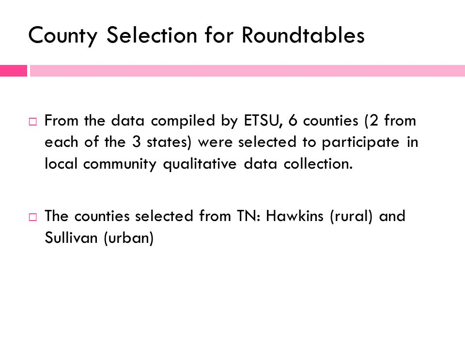 County Selection for Roundtables From the data compiled by ETSU, 6 counties (2 from each of the 3 states) were selected to participate in local community qualitative data collection.