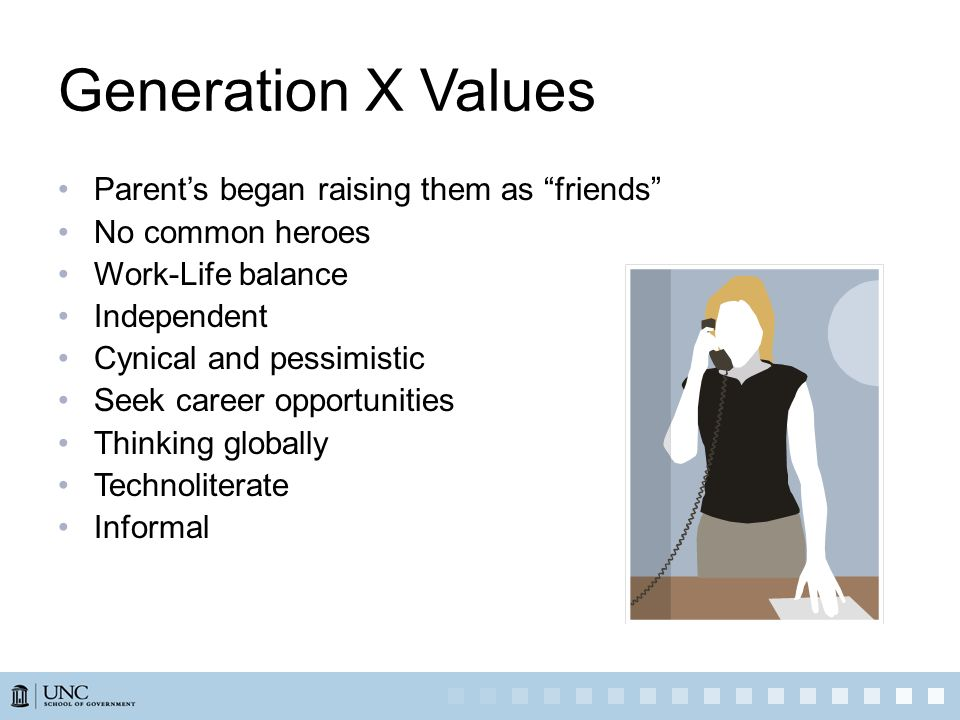 Generation X Values Parents began raising them as friends No common heroes Work-Life balance Independent Cynical and pessimistic Seek career opportuni