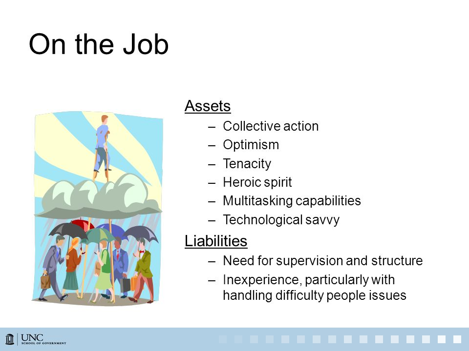 On the Job Assets –Collective action –Optimism –Tenacity –Heroic spirit –Multitasking capabilities –Technological savvy Liabilities –Need for supervis