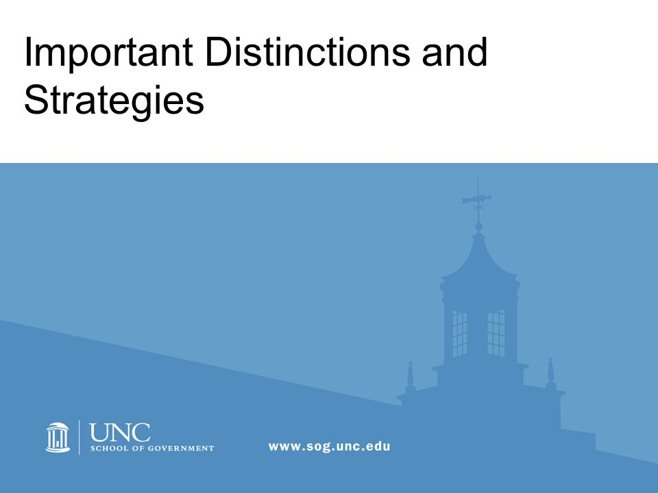 Important Distinctions and Strategies