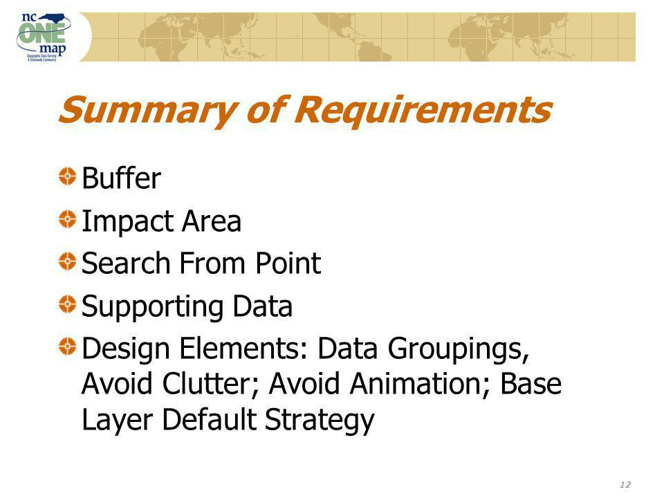 12 Summary of Requirements Buffer Impact Area Search From Point Supporting Data Design Elements: Data Groupings, Avoid Clutter; Avoid Animation; Base Layer Default Strategy