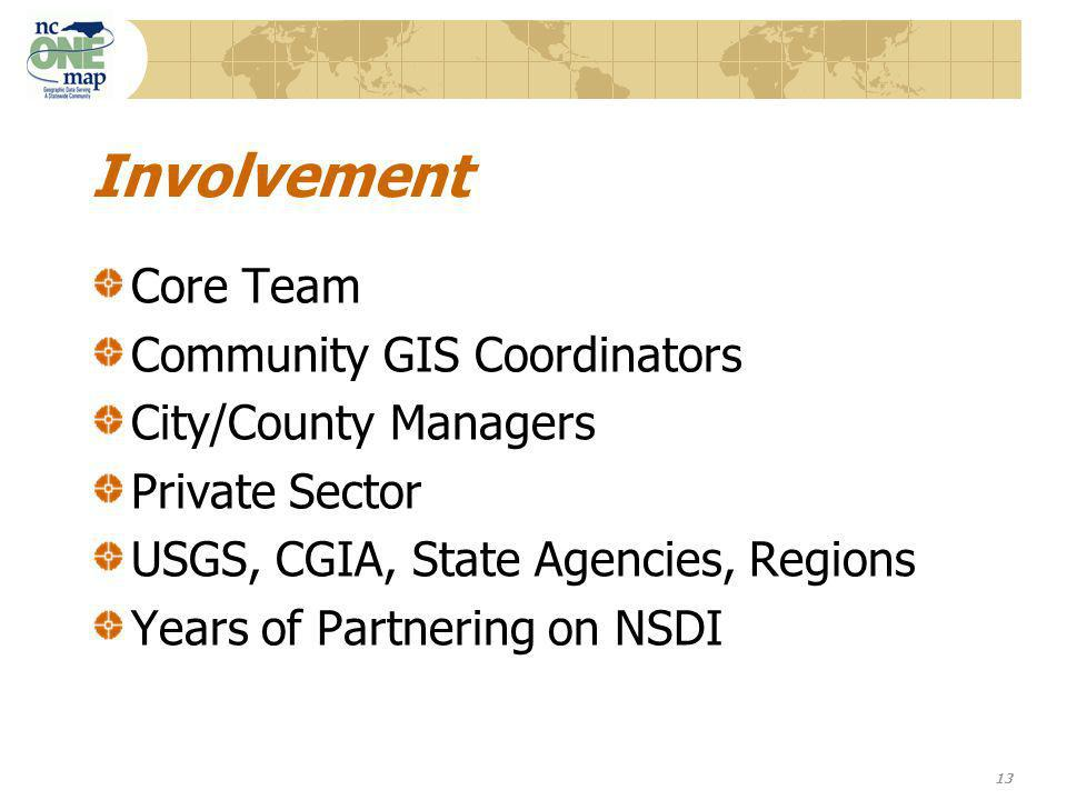 13 Involvement Core Team Community GIS Coordinators City/County Managers Private Sector USGS, CGIA, State Agencies, Regions Years of Partnering on NSDI