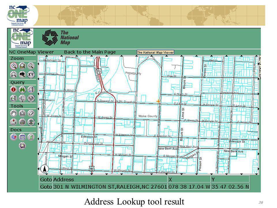36 Address Lookup tool result