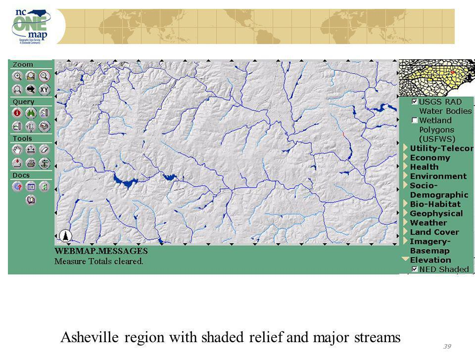 39 Asheville region with shaded relief and major streams