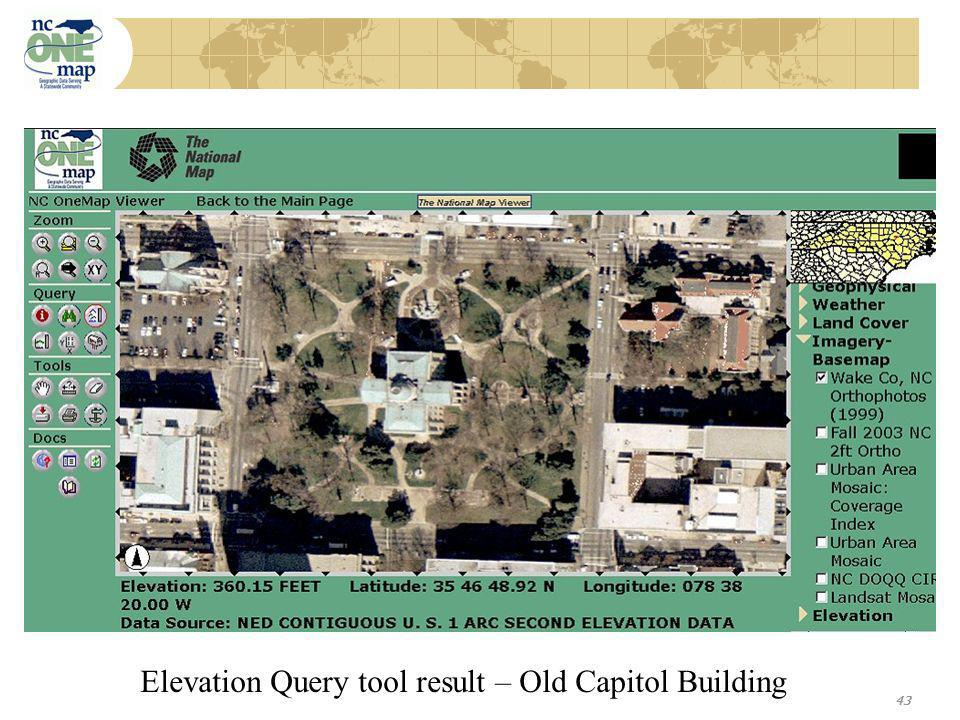 43 Elevation Query tool result – Old Capitol Building