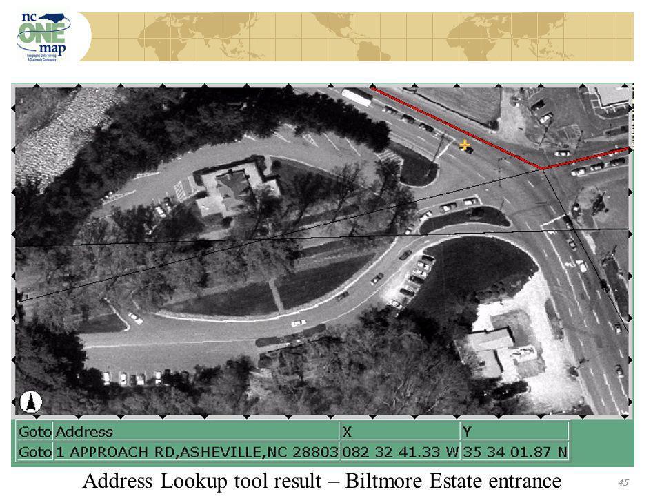 45 Address Lookup tool result – Biltmore Estate entrance