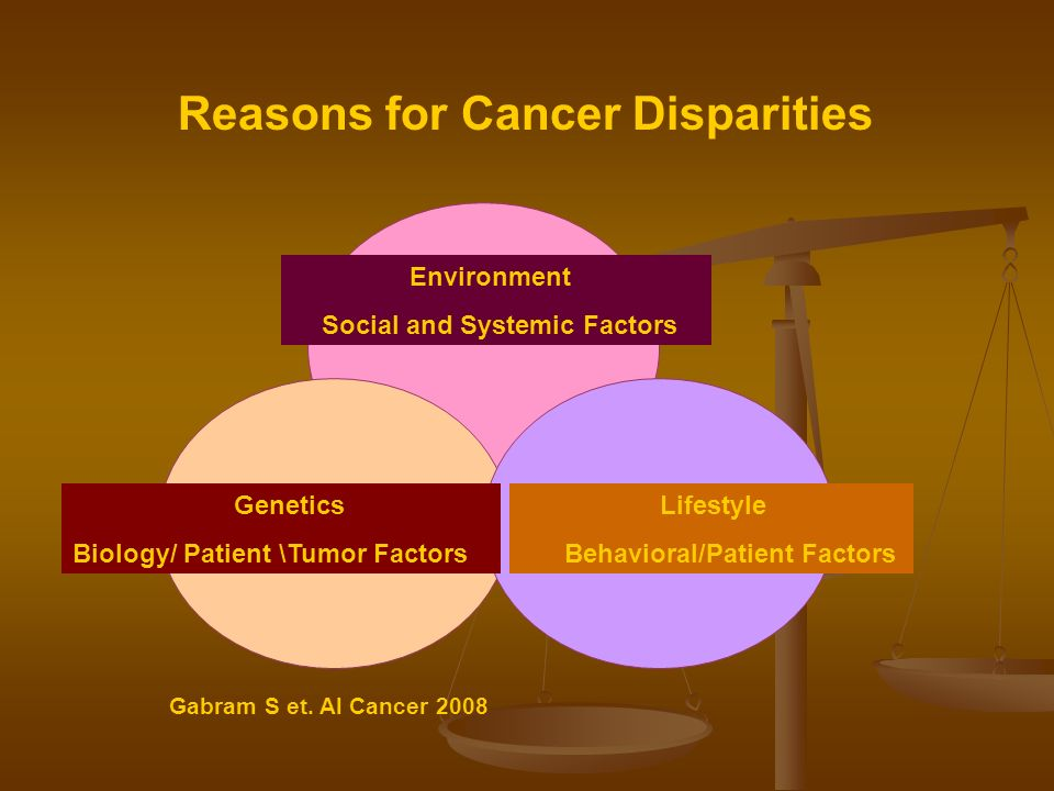 Reasons for Cancer Disparities Genetics Biology/ Patient \Tumor Factors Environment Social and Systemic Factors Lifestyle Behavioral/Patient Factors Gabram S et.