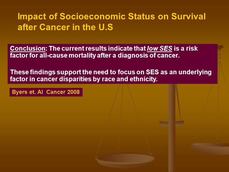 Conclusion: The current results indicate that low SES is a risk factor for all-cause mortality after a diagnosis of cancer.