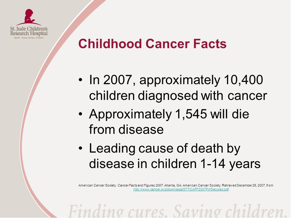 Childhood Cancer Facts In 2007, approximately 10,400 children diagnosed with cancer Approximately 1,545 will die from disease Leading cause of death b