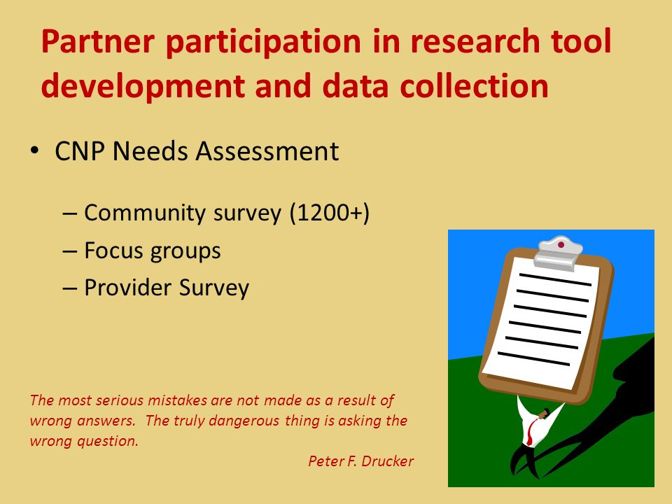Partner participation in research tool development and data collection CNP Needs Assessment – Community survey (1200+) – Focus groups – Provider Surve
