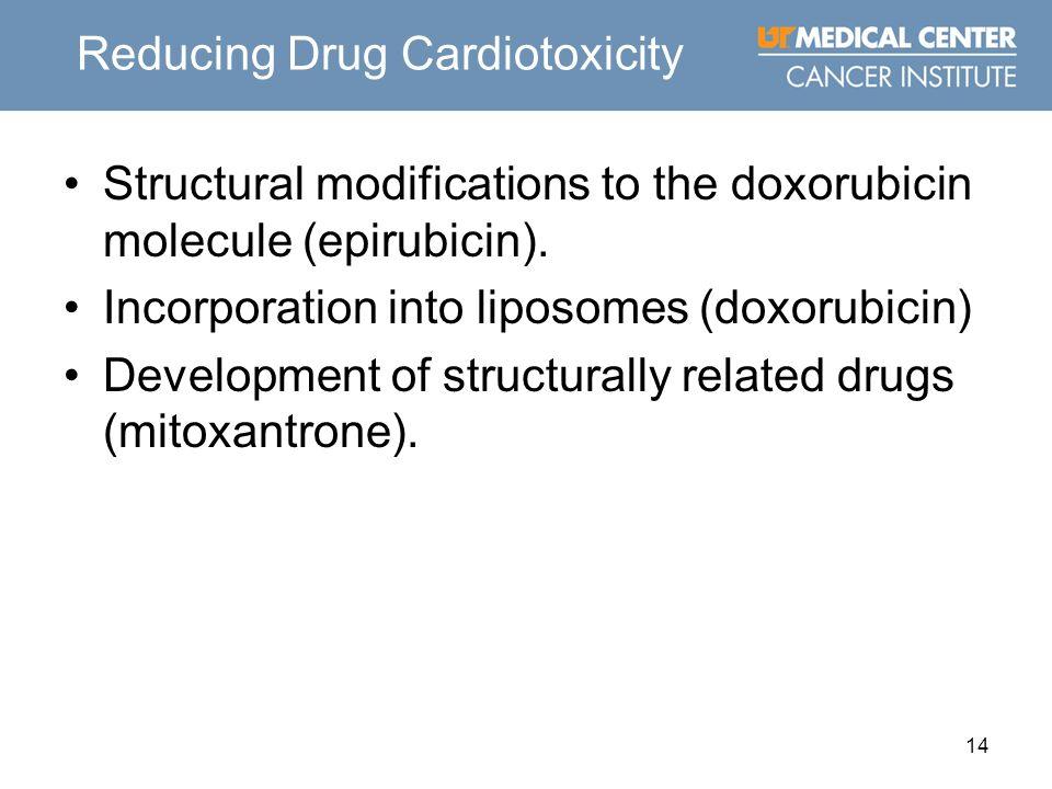14 Reducing Drug Cardiotoxicity Structural modifications to the doxorubicin molecule (epirubicin). Incorporation into liposomes (doxorubicin) Developm