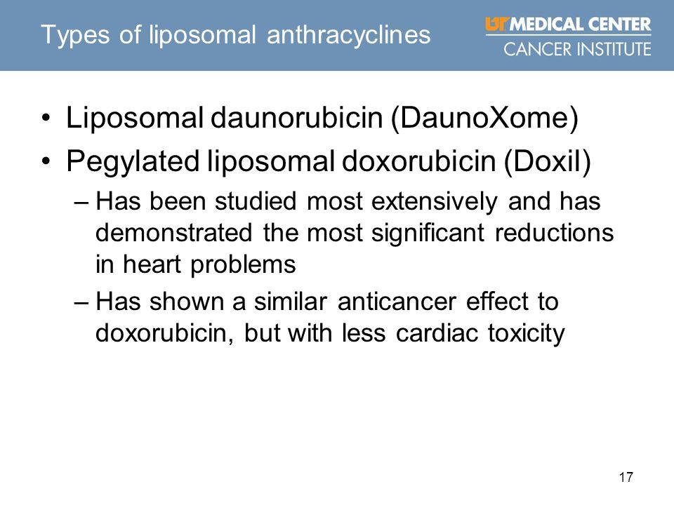 17 Types of liposomal anthracyclines Liposomal daunorubicin (DaunoXome) Pegylated liposomal doxorubicin (Doxil) –Has been studied most extensively and