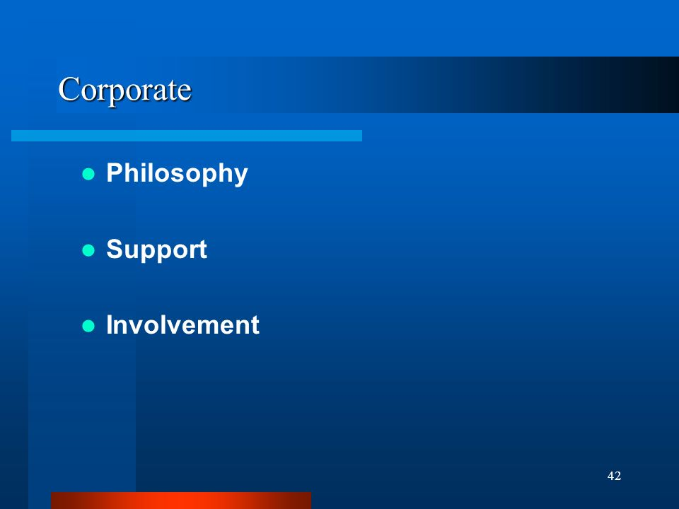 42 Corporate Philosophy Support Involvement