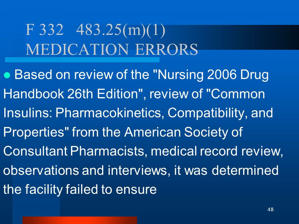 48 F 332 483.25(m)(1) MEDICATION ERRORS Based on review of the