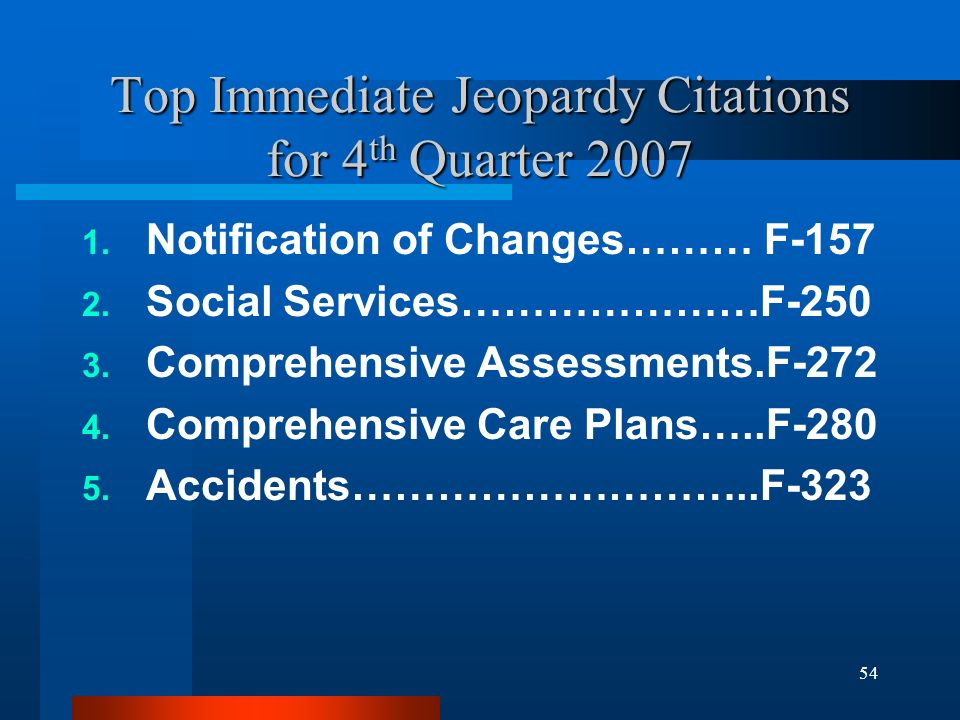 54 Top Immediate Jeopardy Citations for 4 th Quarter 2007 1. Notification of Changes……… F-157 2. Social Services…………………F-250 3. Comprehensive Assessme