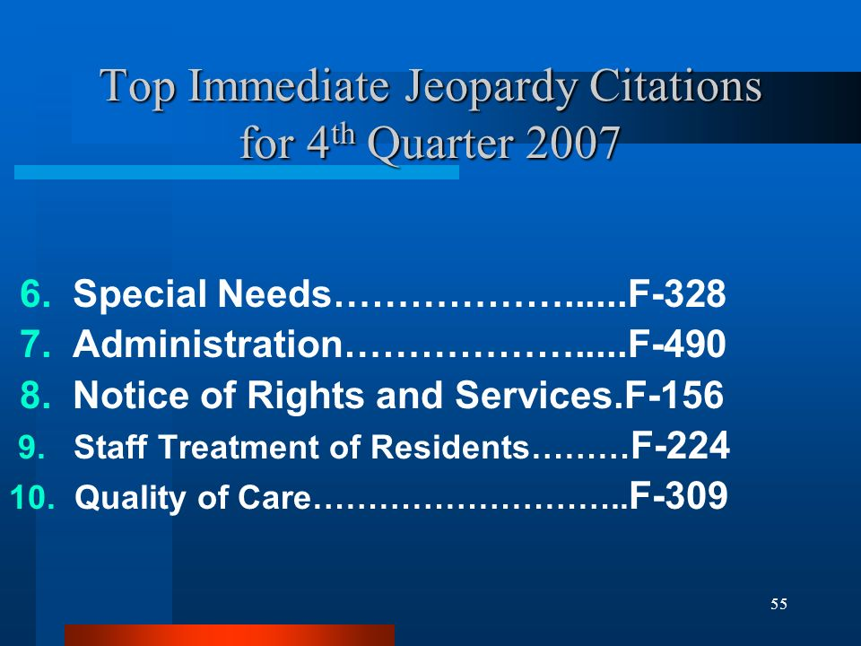 55 Top Immediate Jeopardy Citations for 4 th Quarter 2007 6. Special Needs………………......F-328 7. Administration……………….....F-490 8. Notice of Rights and