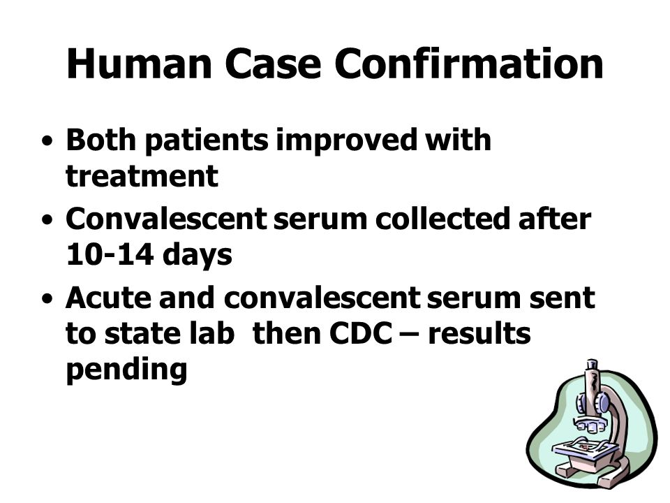 Human Case Confirmation Both patients improved with treatment Convalescent serum collected after 10-14 days Acute and convalescent serum sent to state