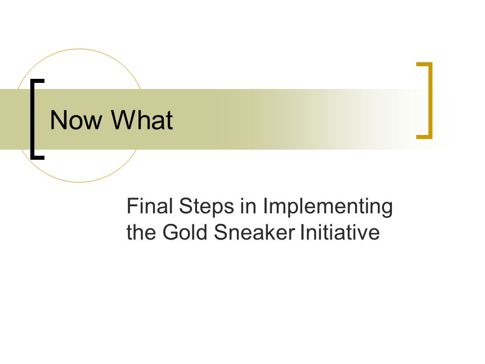 Now What Final Steps in Implementing the Gold Sneaker Initiative