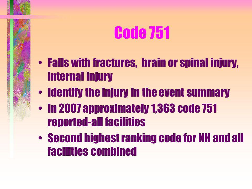 Code 751 Falls with fractures, brain or spinal injury, internal injury Identify the injury in the event summary In 2007 approximately 1,363 code 751 r