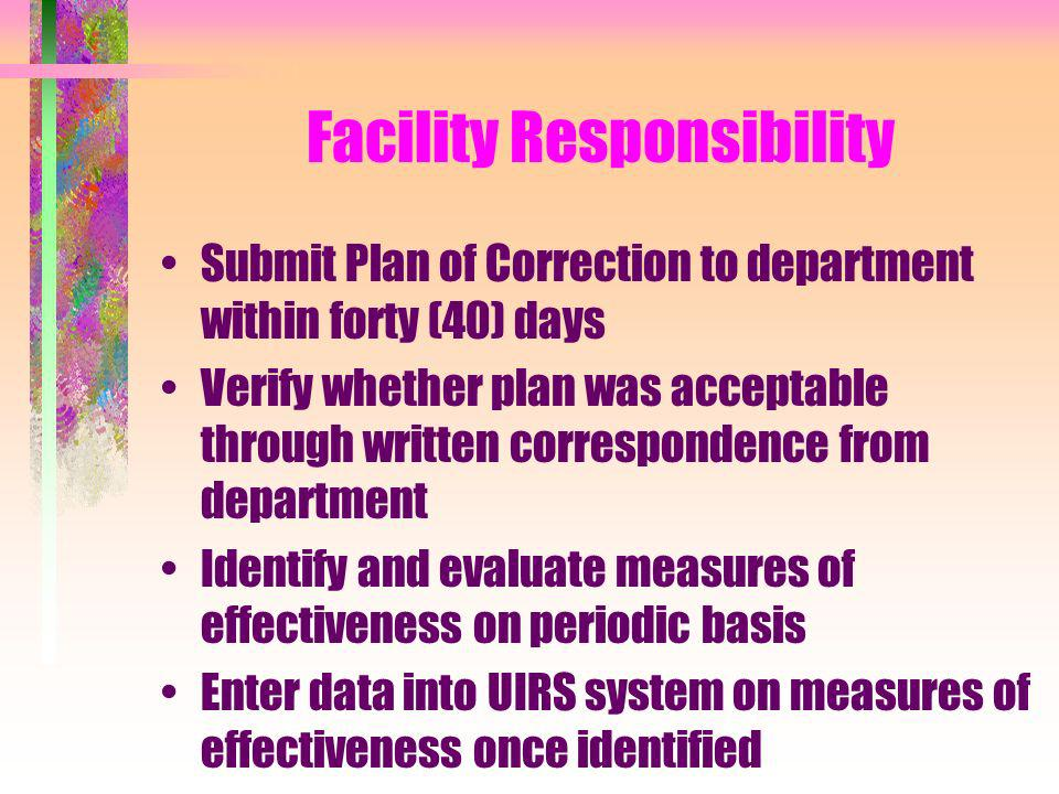 Facility Responsibility Submit Plan of Correction to department within forty (40) days Verify whether plan was acceptable through written corresponden