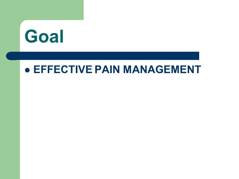 Goal EFFECTIVE PAIN MANAGEMENT