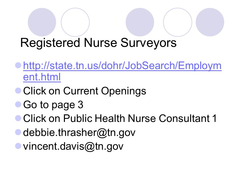 Registered Nurse Surveyors http://state.tn.us/dohr/JobSearch/Employm ent.html http://state.tn.us/dohr/JobSearch/Employm ent.html Click on Current Openings Go to page 3 Click on Public Health Nurse Consultant 1 debbie.thrasher@tn.gov vincent.davis@tn.gov