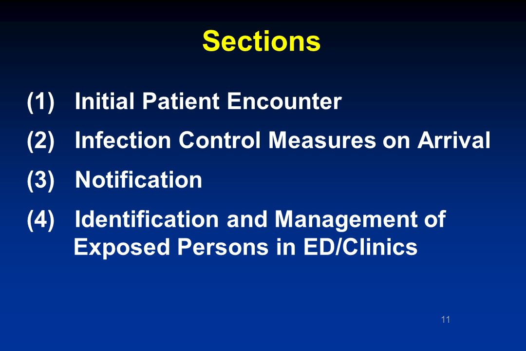11 Sections (1) Initial Patient Encounter (2) Infection Control Measures on Arrival (3) Notification (4) Identification and Management of Exposed Persons in ED/Clinics