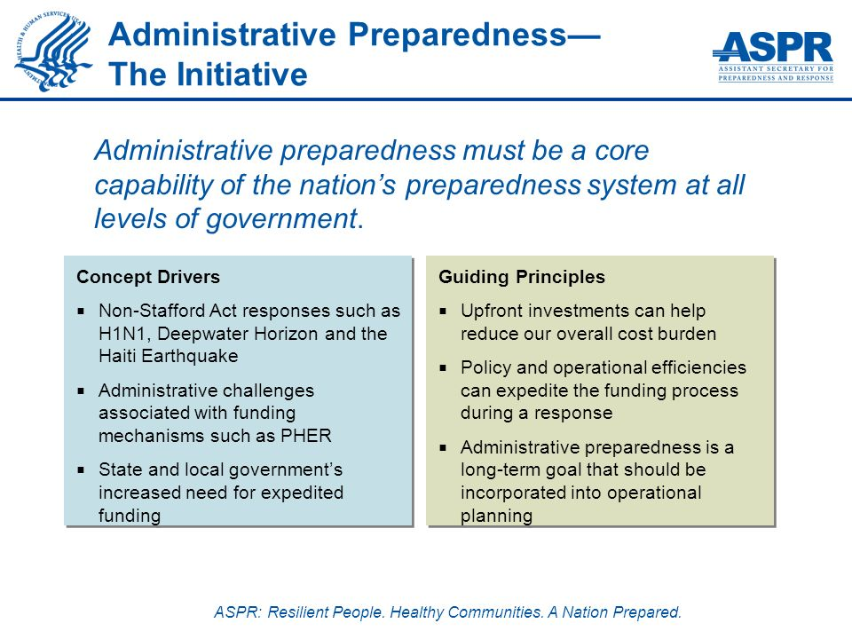 ASPR: Resilient People. Healthy Communities. A Nation Prepared. Administrative Preparedness The Initiative Administrative preparedness must be a core