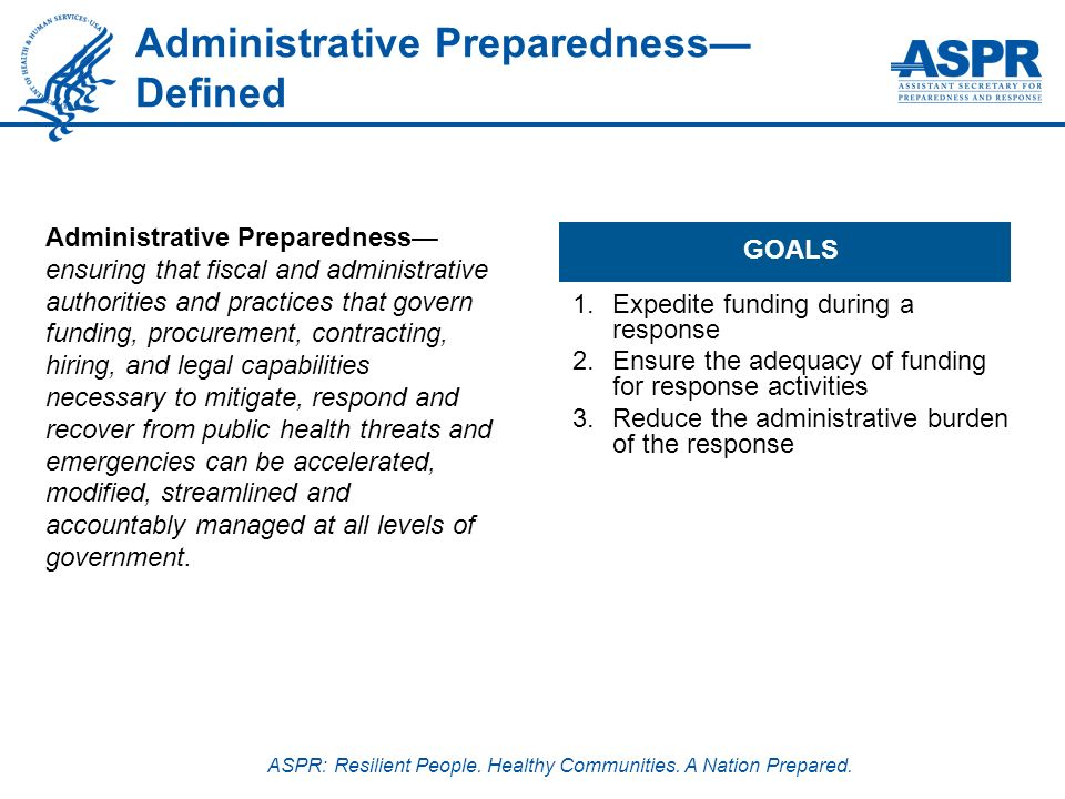 ASPR: Resilient People. Healthy Communities. A Nation Prepared. Administrative Preparedness Defined GOALS 1.Expedite funding during a response 2.Ensur