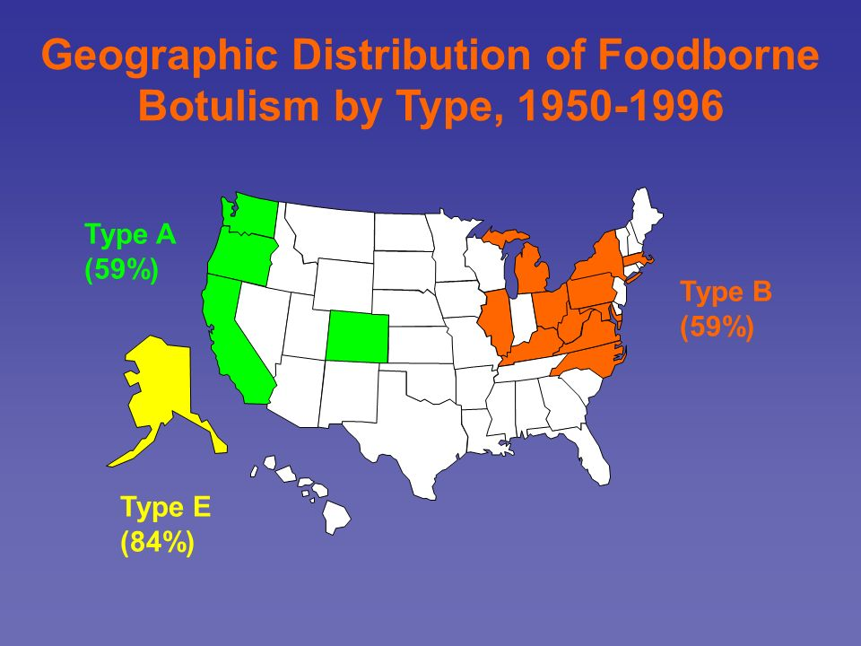 Geographic Distribution of Foodborne Botulism by Type, 1950-1996 Type B (59%) Type E (84%) Type A (59%)