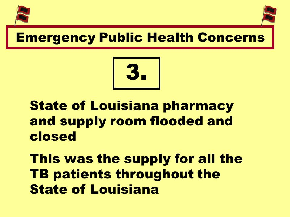 Emergency Public Health Concerns This was the supply for all the TB patients throughout the State of Louisiana State of Louisiana pharmacy and supply room flooded and closed 3.