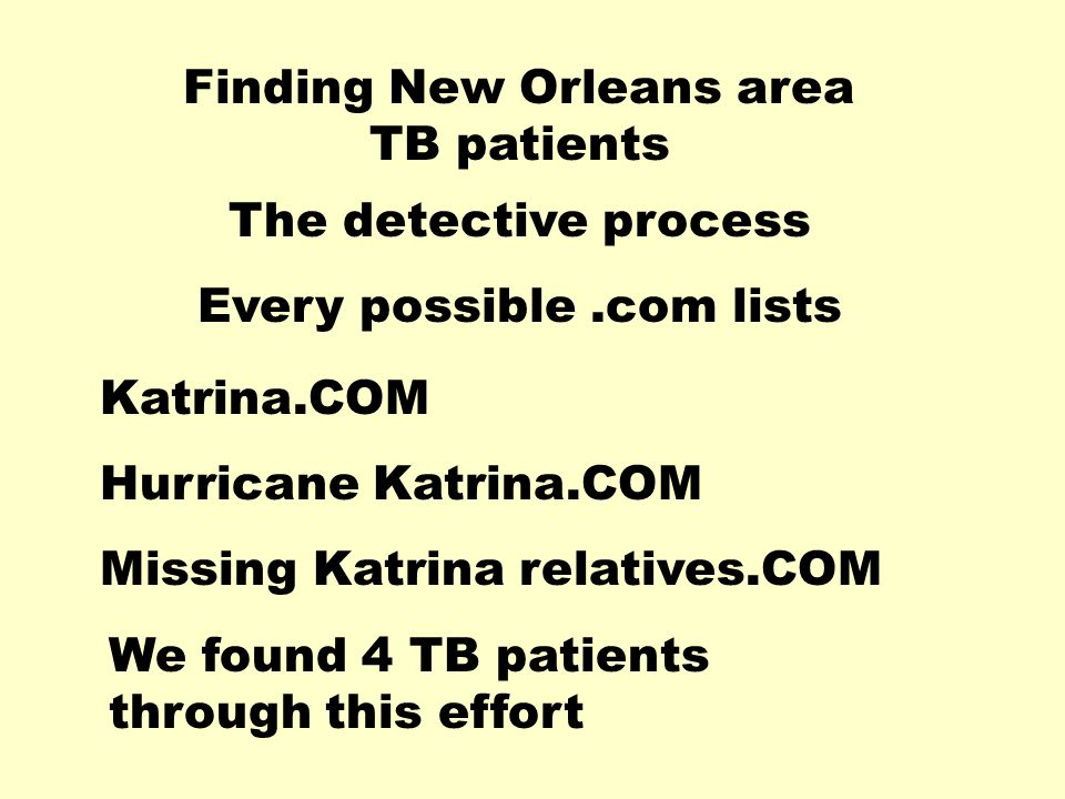 Finding New Orleans area TB patients The detective process Every possible.com lists Katrina.COM Hurricane Katrina.COM Missing Katrina relatives.COM We found 4 TB patients through this effort