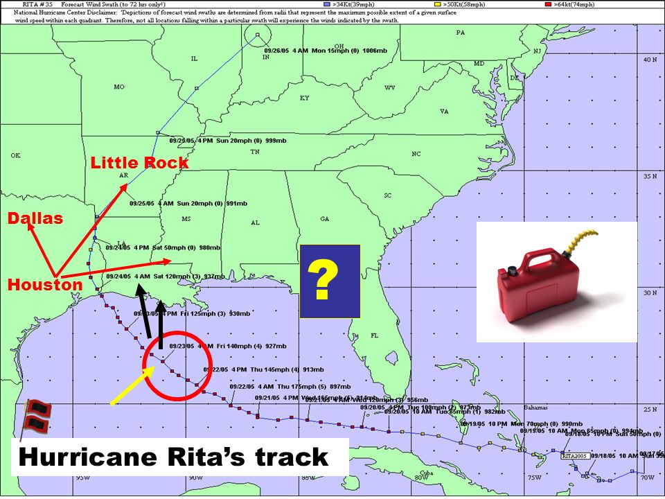 ? Houston Dallas Little Rock Hurricane Ritas track