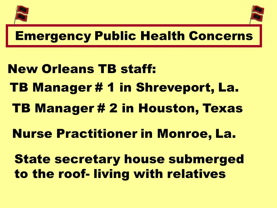 Emergency Public Health Concerns New Orleans TB staff: TB Manager # 1 in Shreveport, La.