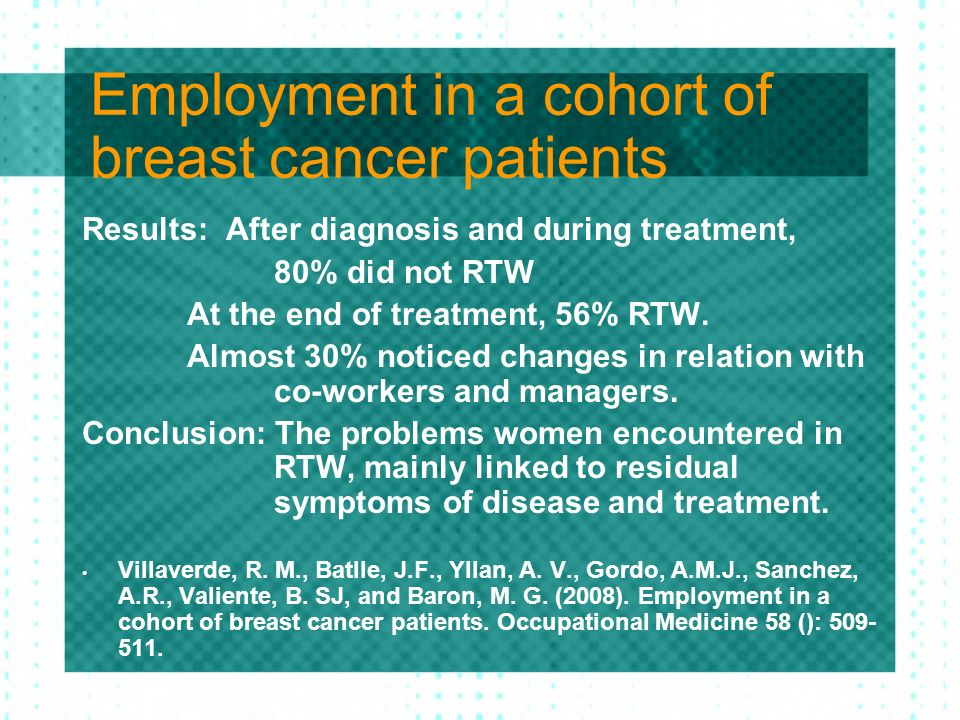 Employment in a cohort of breast cancer patients Results: After diagnosis and during treatment, 80% did not RTW At the end of treatment, 56% RTW. Almo