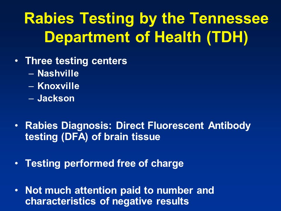 Rabies Testing by the Tennessee Department of Health (TDH) Three testing centers –Nashville –Knoxville –Jackson Rabies Diagnosis: Direct Fluorescent A