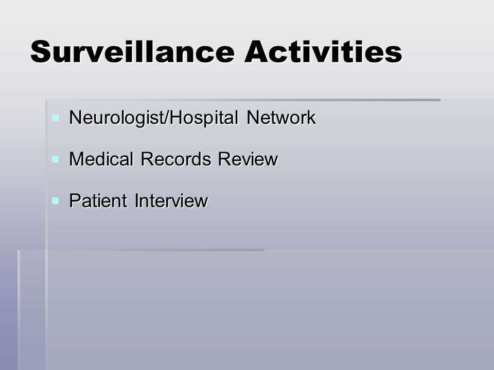 Surveillance Activities Neurologist/Hospital Network Neurologist/Hospital Network Medical Records Review Medical Records Review Patient Interview Patient Interview