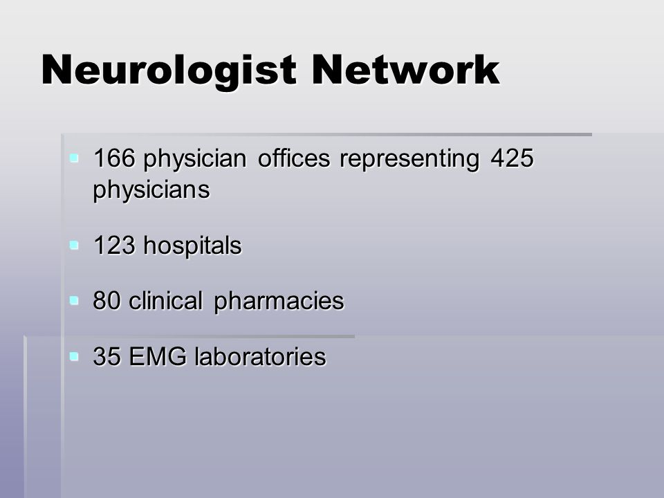 Neurologist Network 166 physician offices representing 425 physicians 166 physician offices representing 425 physicians 123 hospitals 123 hospitals 80 clinical pharmacies 80 clinical pharmacies 35 EMG laboratories 35 EMG laboratories