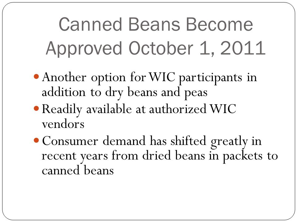 Tennessee WIC Approved and Non-Approved Canned Beans To Bean or not to Bean