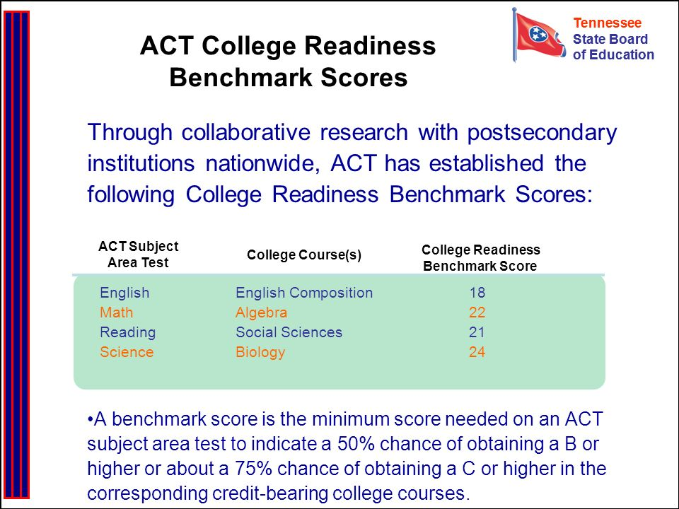Tennessee State Board of Education Tennessee State Board of Education Through collaborative research with postsecondary institutions nationwide, ACT has established the following College Readiness Benchmark Scores: A benchmark score is the minimum score needed on an ACT subject area test to indicate a 50% chance of obtaining a B or higher or about a 75% chance of obtaining a C or higher in the corresponding credit-bearing college courses.