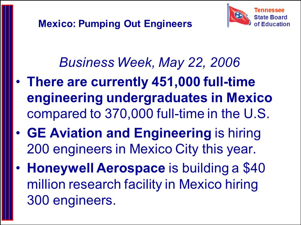 Tennessee State Board of Education Tennessee State Board of Education Mexico: Pumping Out Engineers Business Week, May 22, 2006 There are currently 45